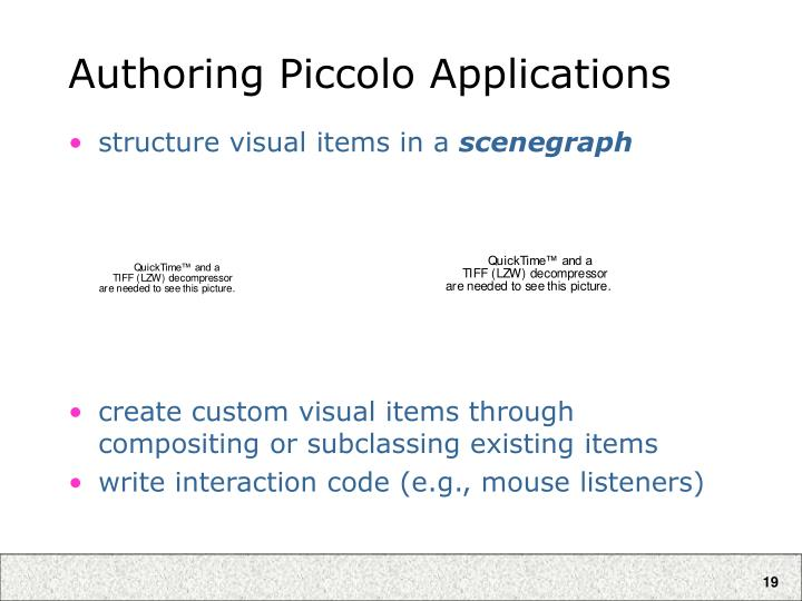 Authoring Piccolo Applications