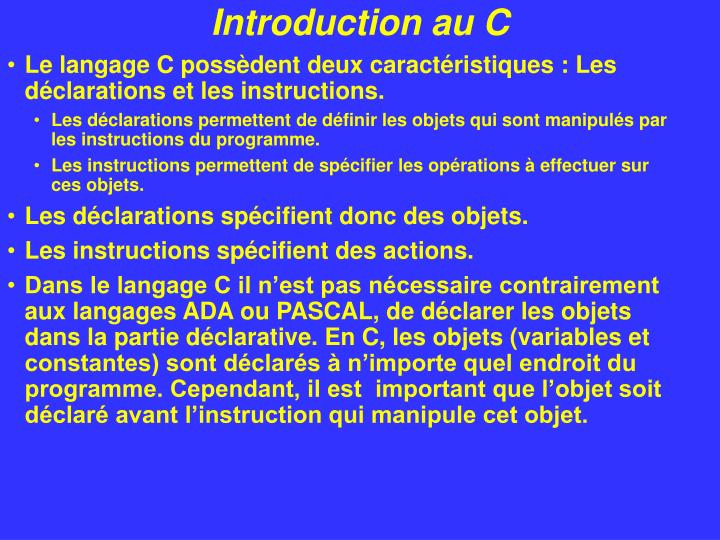 Introduction au c1
