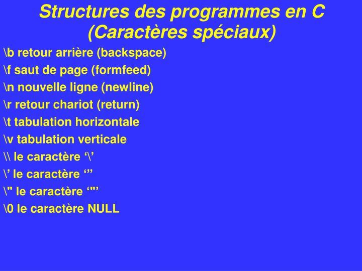 Structures des programmes en C (Caractères spéciaux)