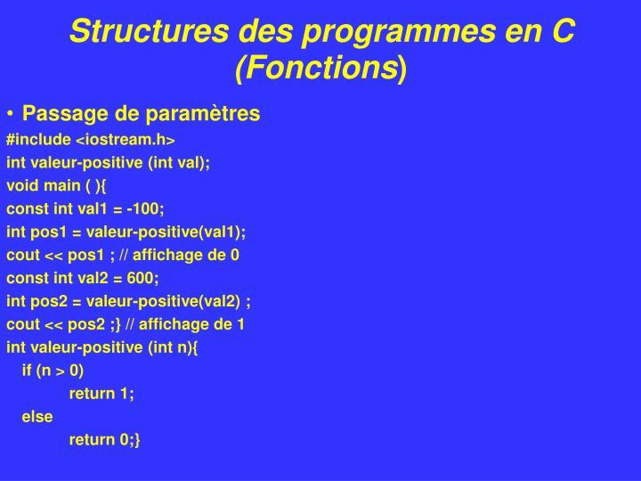 Structures des programmes en C