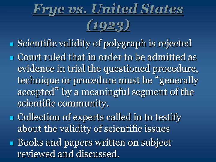 Frye vs. United States (1923)