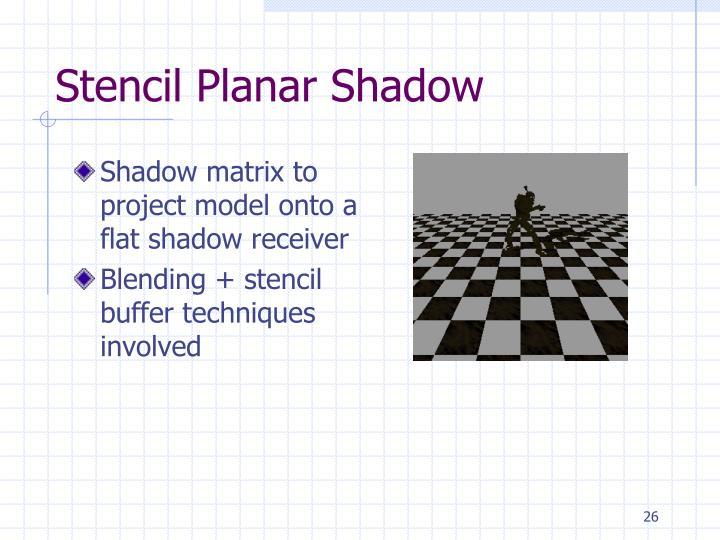 Shadow matrix to project model onto a flat shadow receiver