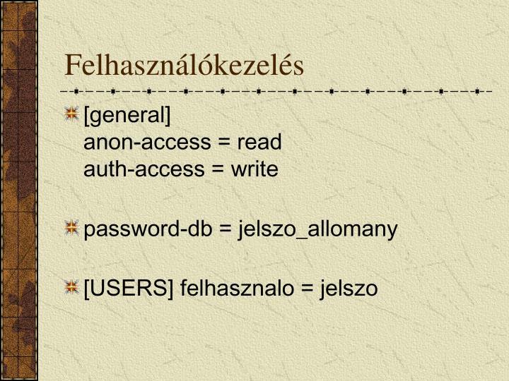 Felhasználókezelés