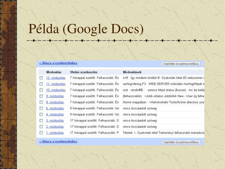Példa (Google Docs)