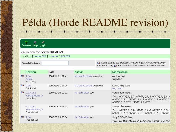 Példa (Horde README revision)