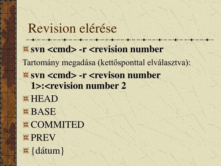 Revision elérése