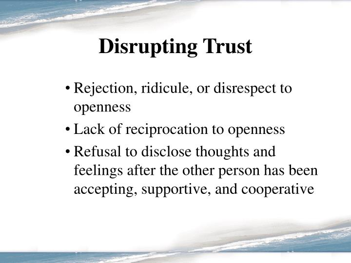 Disrupting Trust