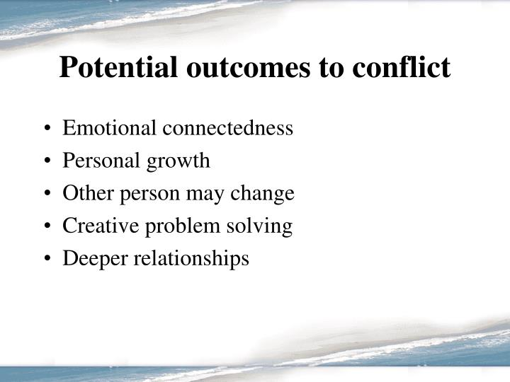 Potential outcomes to conflict