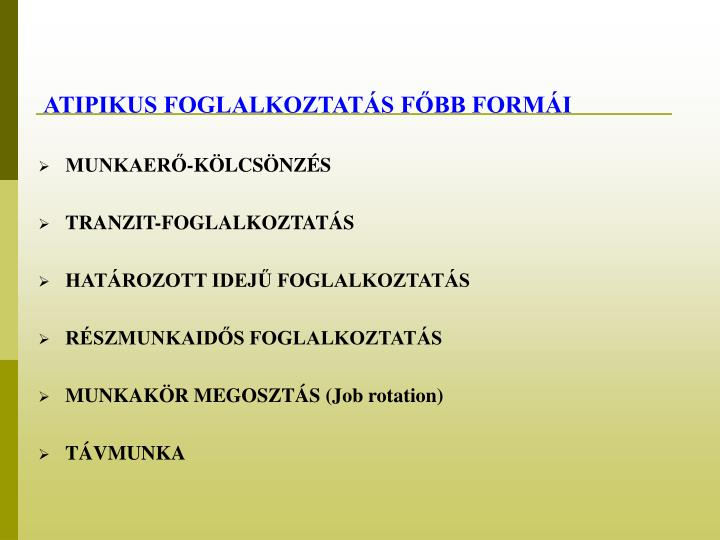 ATIPIKUS FOGLALKOZTATÁS FŐBB FORMÁI