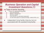 business operation and capital investment questions 1
