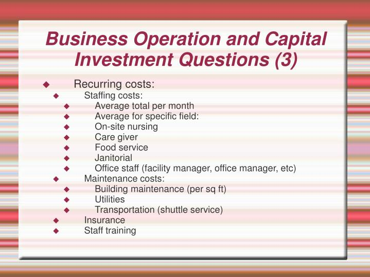 Business Operation and Capital