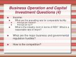 business operation and capital investment questions 4