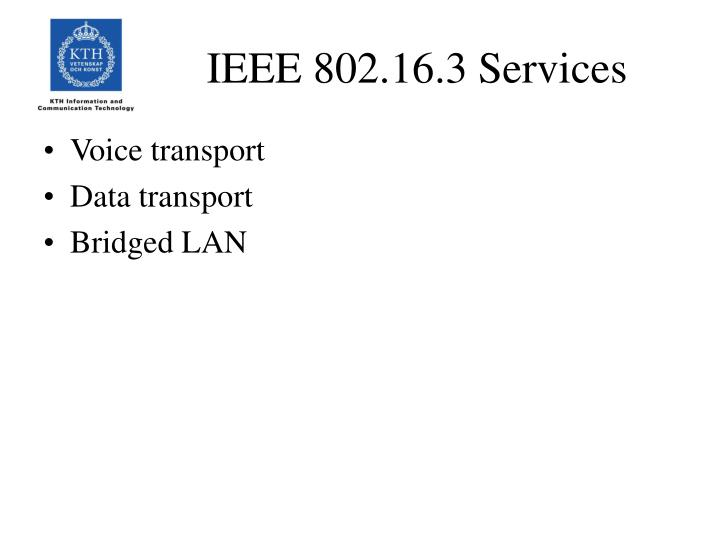 IEEE 802.16.3 Services