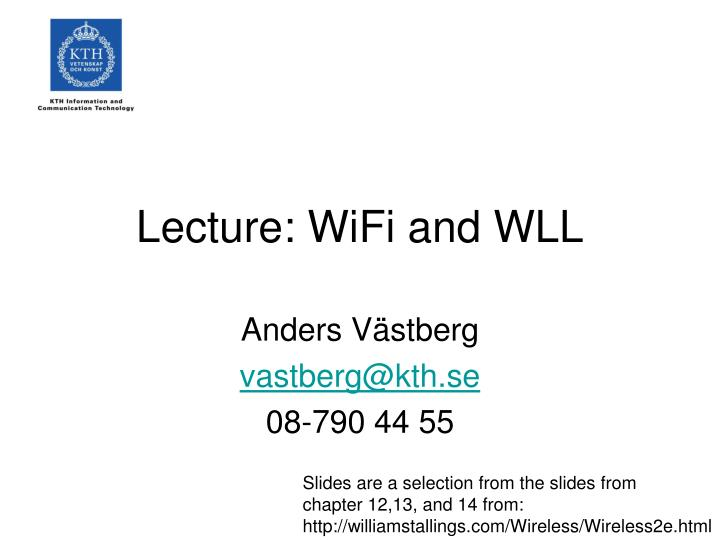 Lecture wifi and wll