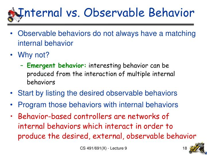 Internal vs. Observable Behavior