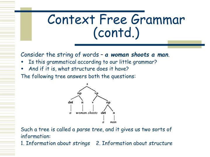 Context Free Grammar (contd.)