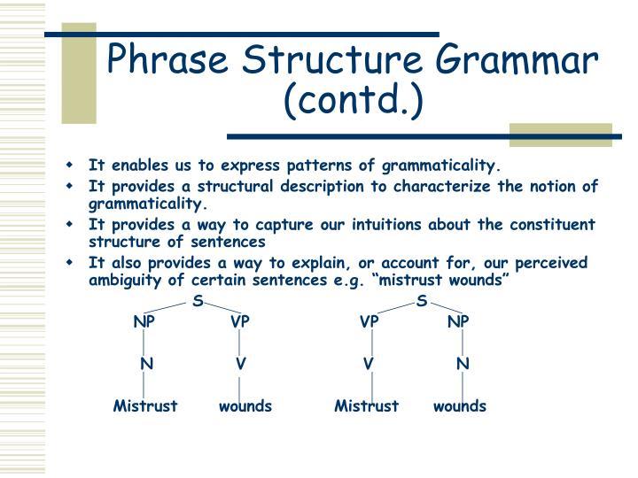 Phrase Structure Grammar (contd.)