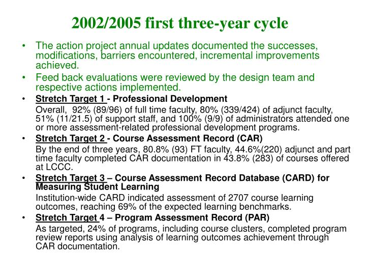 2002/2005 first three-year cycle