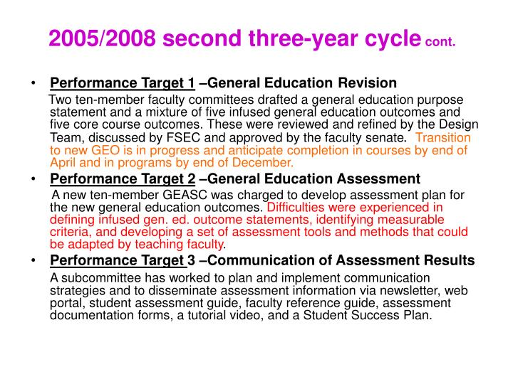 2005/2008 second three-year cycle