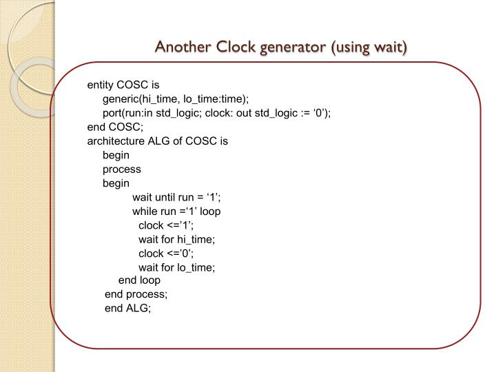 Another Clock generator (using wait)