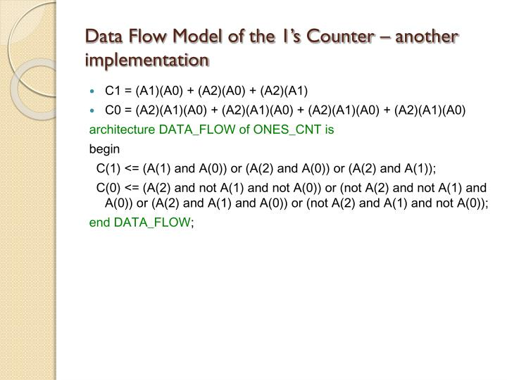 Data Flow Model of the 1's Counter – another implementation