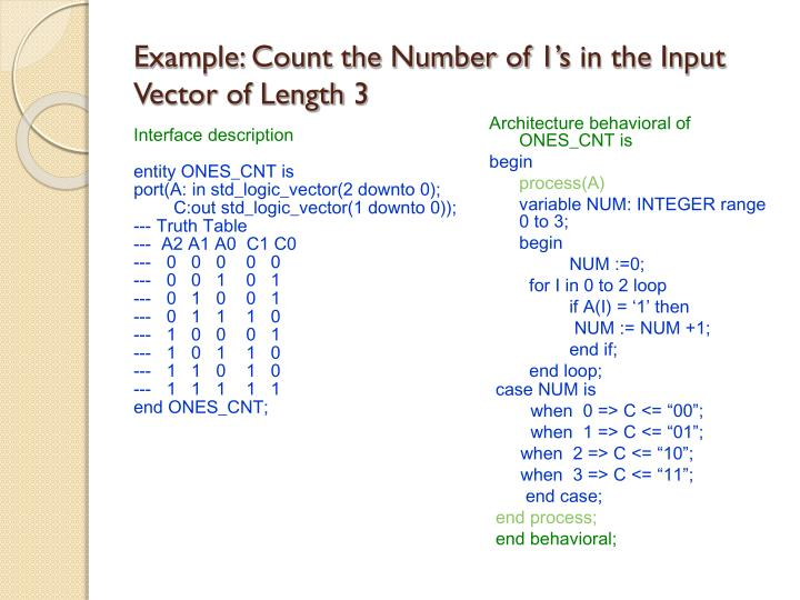 Example: Count the Number of 1's in the Input Vector of Length 3