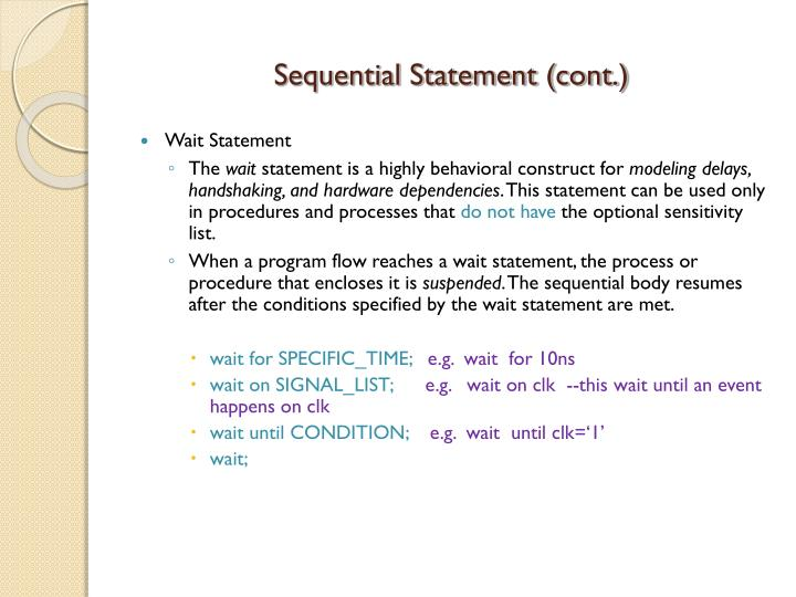 Sequential Statement (cont.)