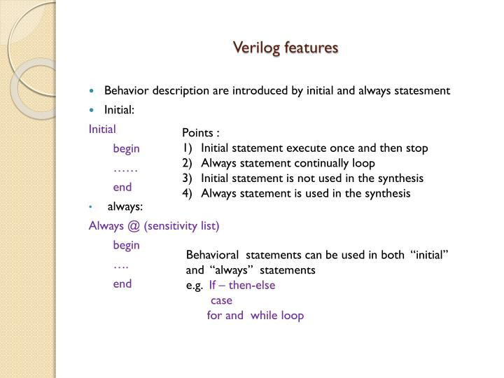 Verilog features