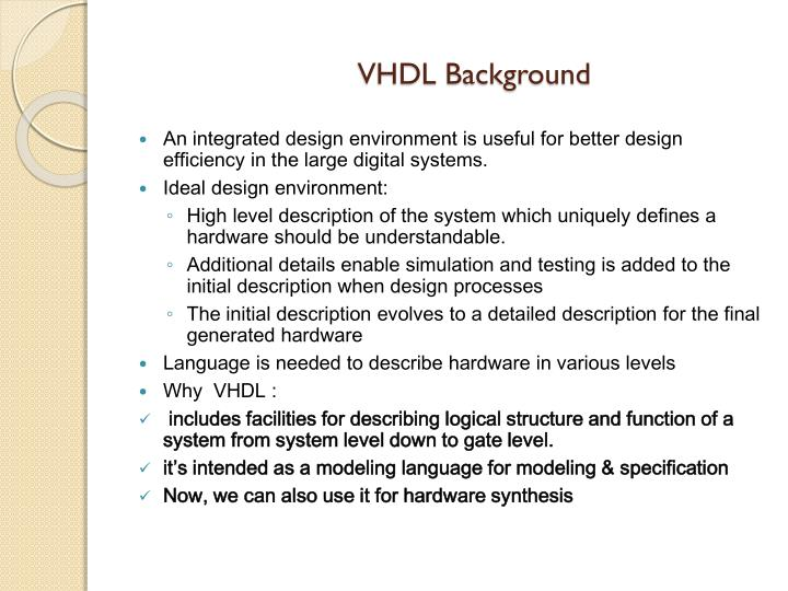 Vhdl background