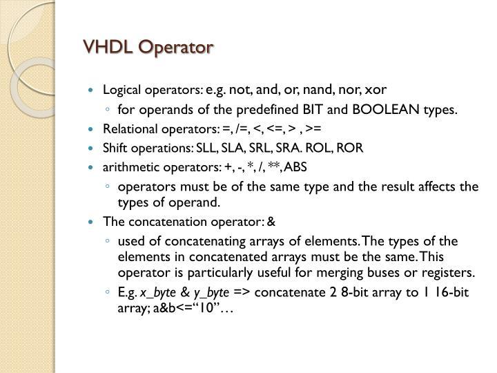 VHDL Operator