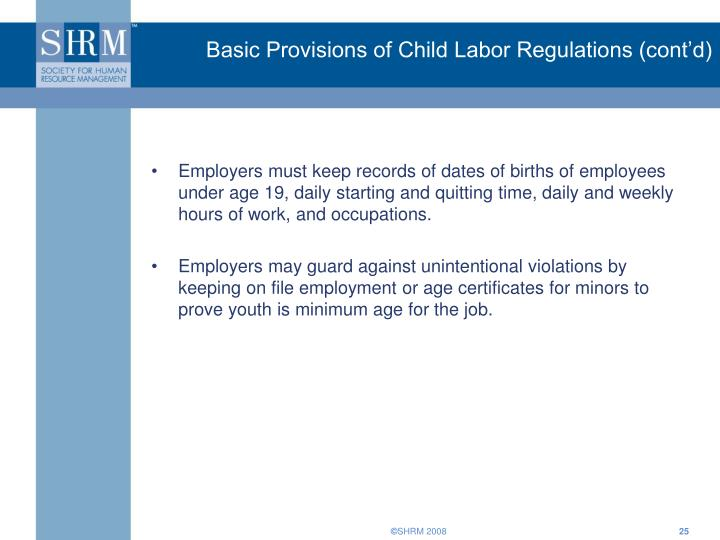 Basic Provisions of Child Labor Regulations (cont'd)