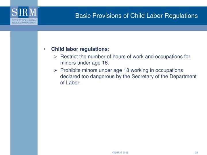 Basic Provisions of Child Labor Regulations