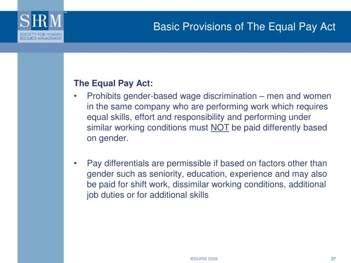 Basic Provisions of The Equal Pay Act