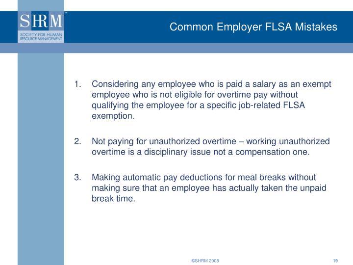 Common Employer FLSA Mistakes