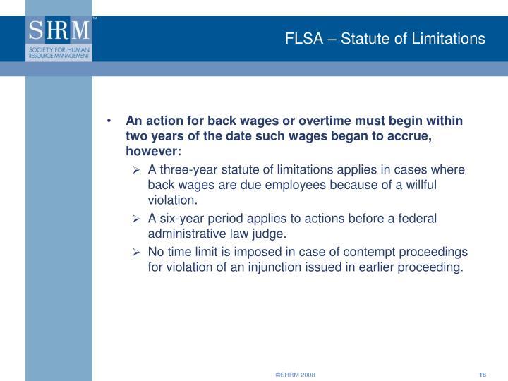 FLSA – Statute of Limitations