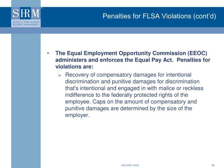 Penalties for FLSA Violations (cont'd)