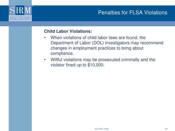 Penalties for FLSA Violations