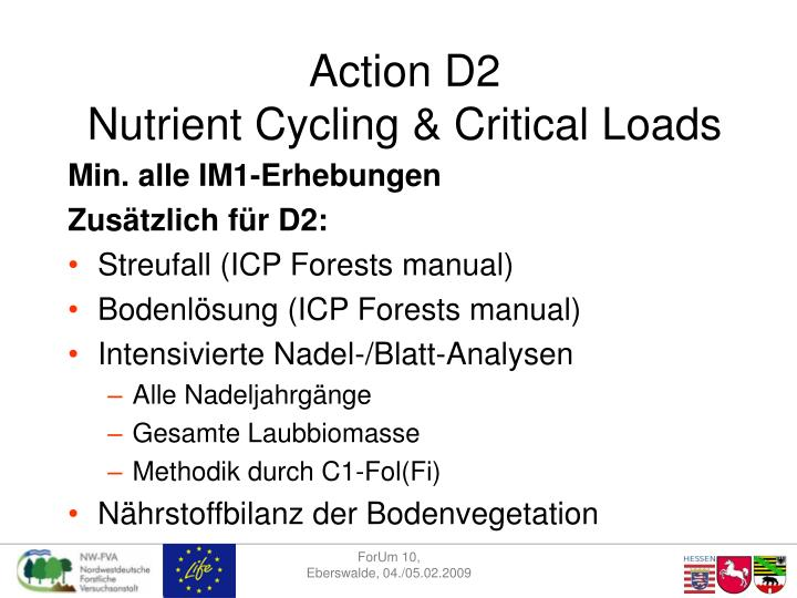 Action d2 nutrient cycling critical loads