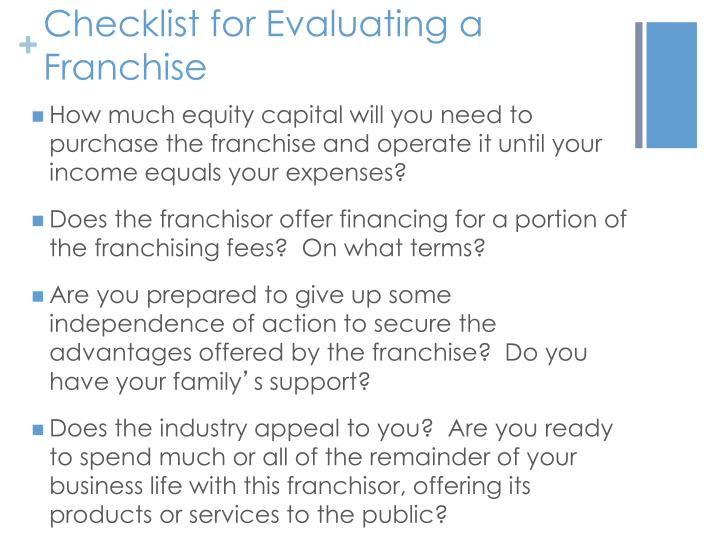 Checklist for Evaluating a Franchise