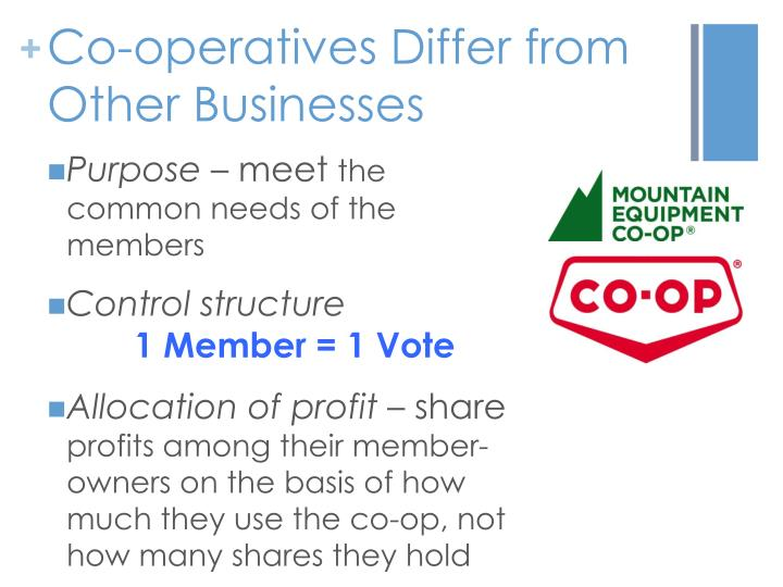 Co-operatives Differ from