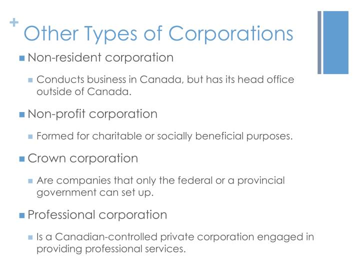 Other Types of Corporations