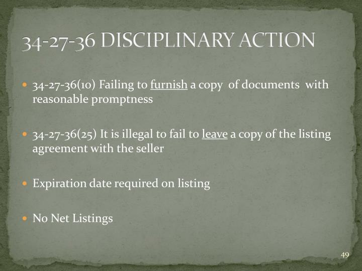 34-27-36 DISCIPLINARY ACTION