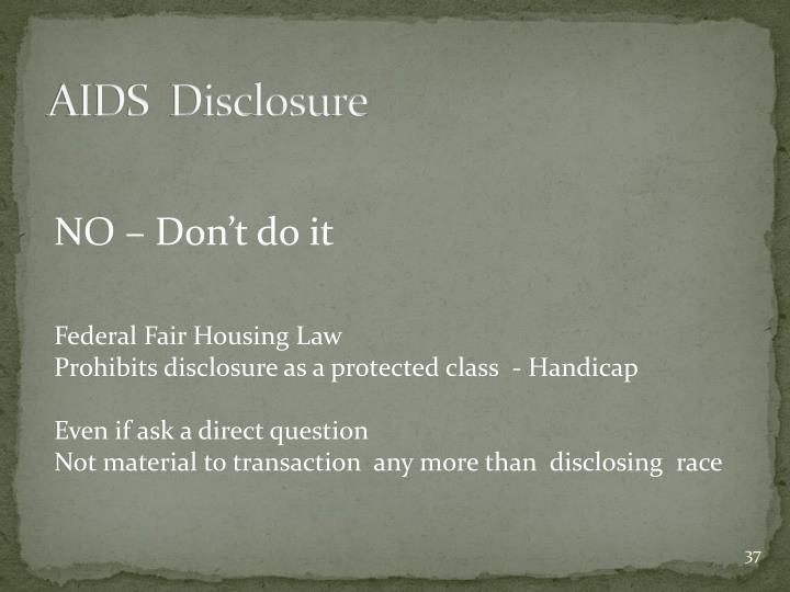 AIDS  Disclosure