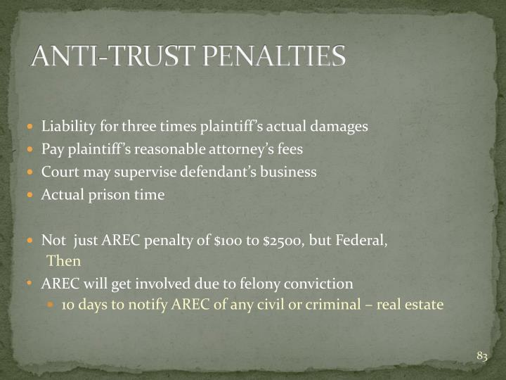 ANTI-TRUST PENALTIES