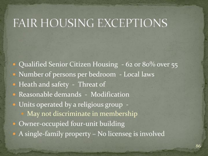 FAIR HOUSING EXCEPTIONS