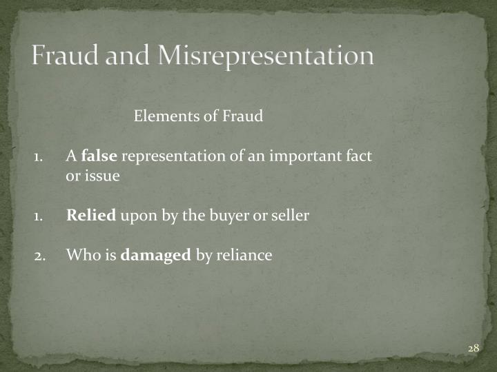 Fraud and Misrepresentation