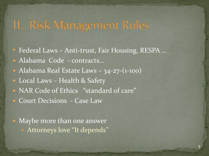 II.  Risk Management Rules
