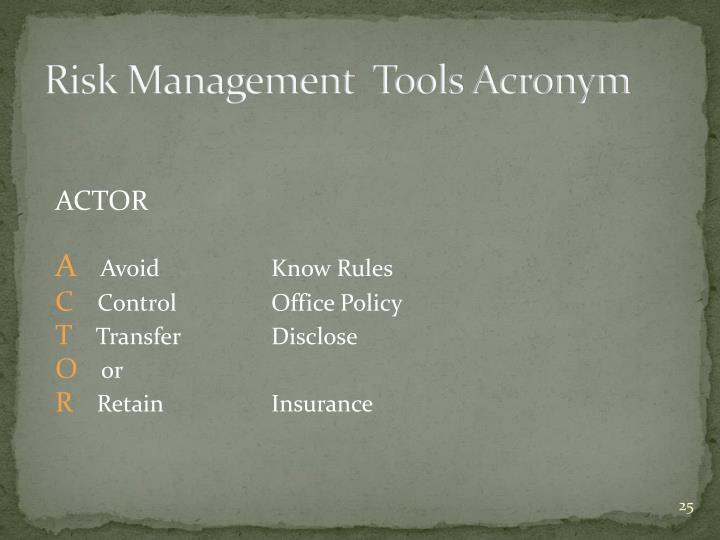 Risk Management  Tools Acronym