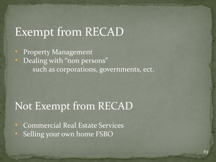Exempt from RECAD
