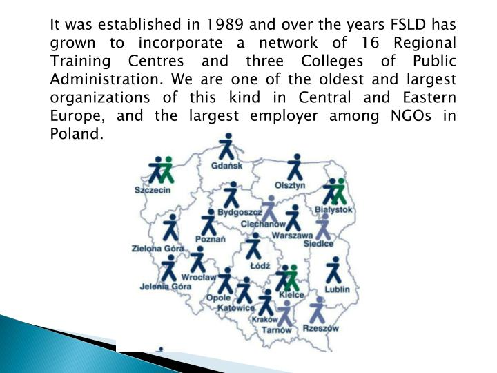 It was established in 1989 and over the years FSLD has grown to incorporate a network of 16 Regional Training